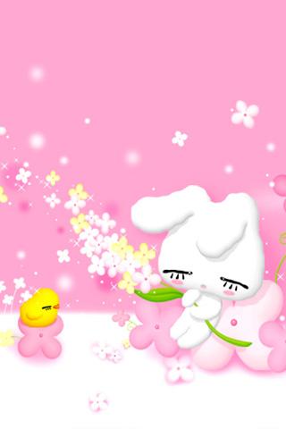 卡通粉色小兔子图片